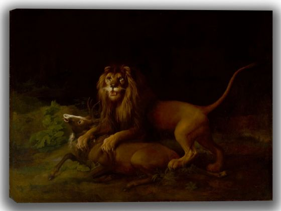 Stubbs, George: A Lion Attacking a Stag. Fine Art Canvas. Sizes: A4/A3/A2/A1 (004114)
